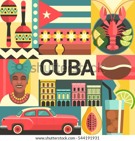 Shutterstock Cuba travel poster concept. Vector illustration with Cuban culture and food icons, including maracas, retro car, dish with lobster, architecture and portrait of Cuban Woman in trendy flat style.