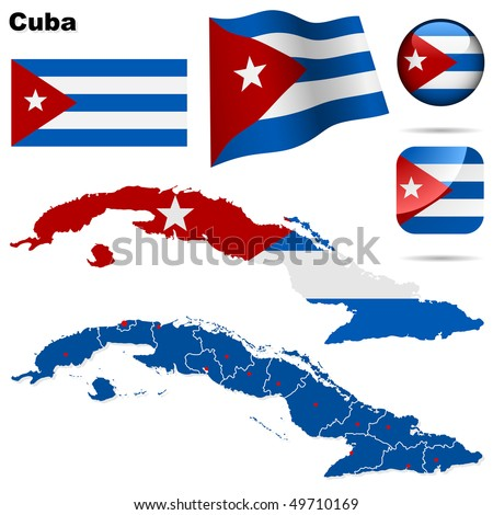 cuba vector set detailed