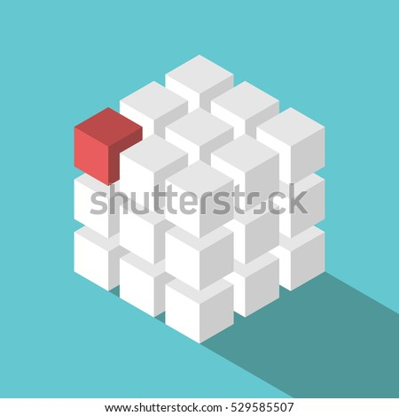 Cube assembled of many white blocks and a red one. Missing piece, uniqueness and teamwork concept. Flat design. EPS 8 vector illustration, no transparency