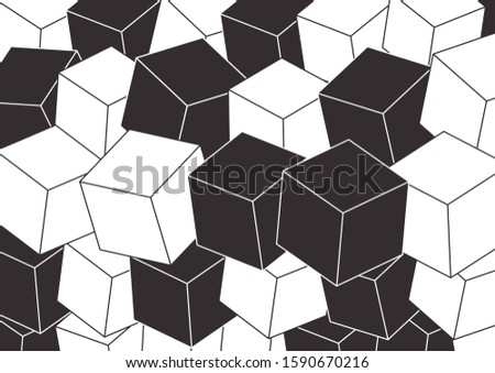 Cube background. Random 3d Cube with lines. The cube lines are white and dark.