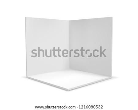 Cube box or corner room interior cross section. Vector white empty geometric square 3D blank box template