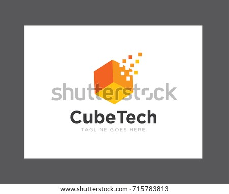 cube digital technology logo icon vector template
