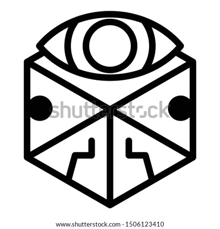 Cube eye alchemy icon. Outline cube eye alchemy vector icon for web design isolated on white background