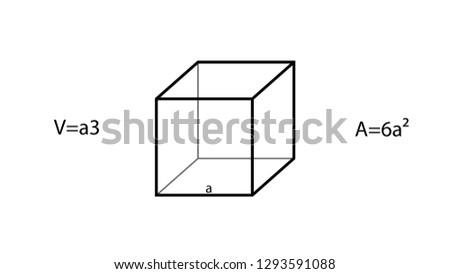 Cube formulas vector. Geometry vector. Geometry formulas