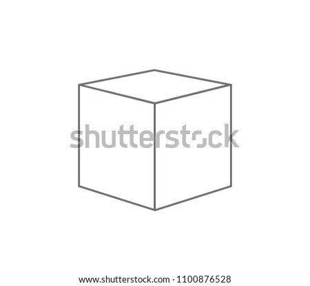 Cube icon. Cube outline vector.  cardboard box vector.