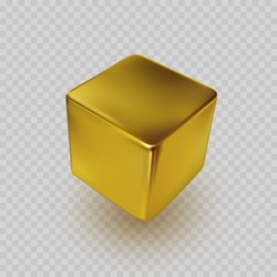 Cube icon isolated on transparent background. Perspective 3d golden cube model with shadow. Vector gold square box, bar, ingot or block template.