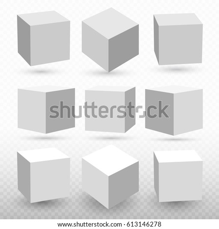 Cube icon set with perspective. 3d model of a cube. Vector illustration. Isolated on transparent background