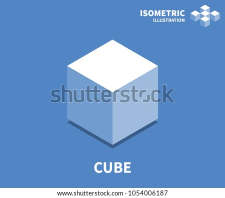 Cube icon, vector illustration in flat isometric 3D style.