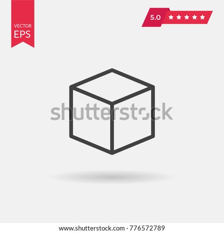 Cube icon vector illustration. Linear symbol with thin outline. The thickness is edited. Minimalist style.