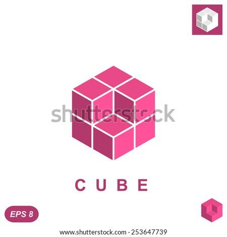 Cube isometric logo concept, 3d illustration, vector, eps 8