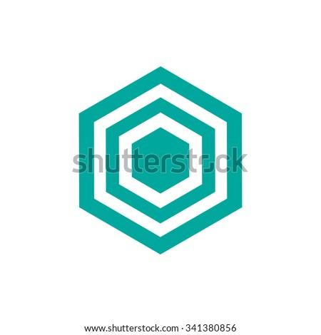 Cube logo design icon vector illustration blue