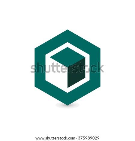 cube logo design icon vector outbox