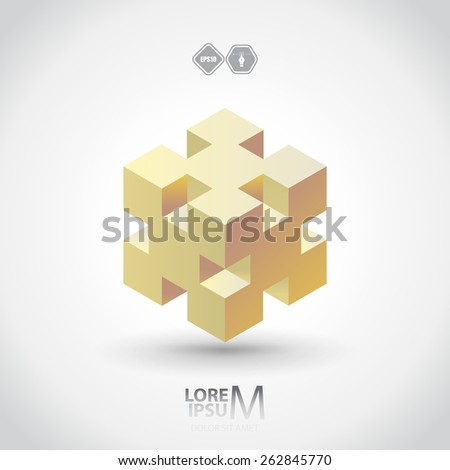 cube logo  logic icon vector