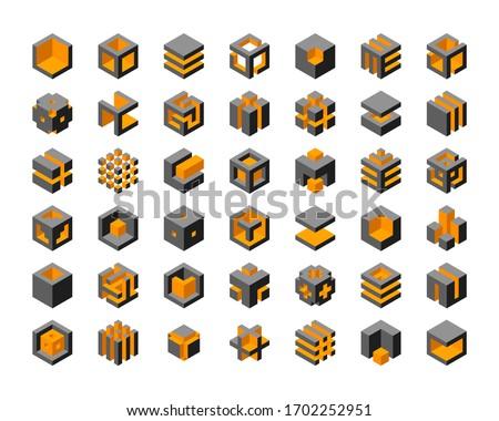 Cube logo vector design.  Cubes 3d set template graphic elements. Stockfoto ©