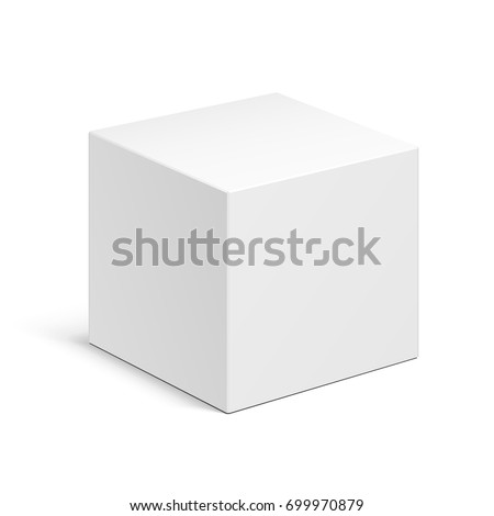 Cube Product Cardboard Package Box. Illustration Isolated On White Background. Mock Up Template Ready For Your Design. Vector EPS10