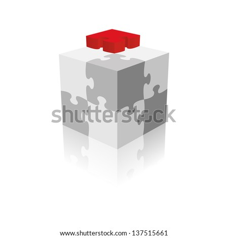 Cube Puzzle. Grayscale With A Red Piece. Vector Illustration
