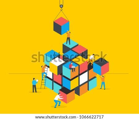 Cube Puzzle Solution Solving Problem Concept banner, vector concept design Foto stock ©