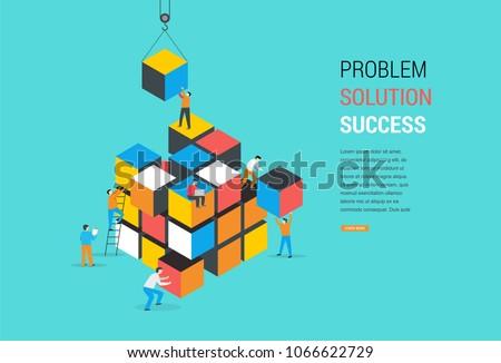 Cube Puzzle Solution Solving Problem Concept banner, vector concept design