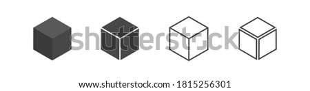 Cube set isolated vector icon. 3D box in different styles. Black block symbol for web and app design Foto stock ©