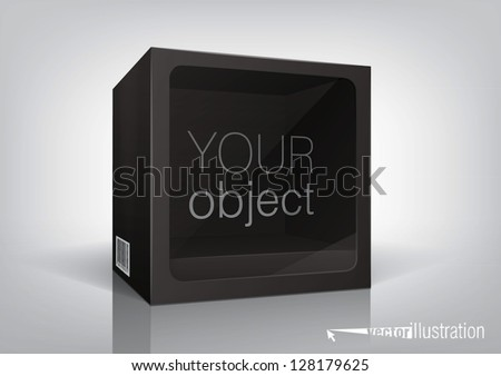 Cube-shaped black package with a transparent plastic window