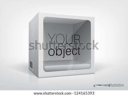 Cube-shaped package with a transparent plastic window for new design and your product inside. Eps10 vector, you can change colors.