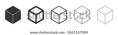 Cube vector icons. Set of Cube symbols on white background. Vector illustration. Various black Cube icons. Foto stock ©