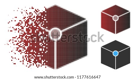 Stock Photo Cube vertex icon in dispersed, pixelated halftone and undamaged whole versions. Pixels are organized into vector dispersed cube vertex icon.