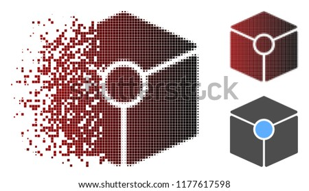 Stock Photo Cube vertex icon in sparkle, pixelated halftone and undamaged whole variants. Pixels are composed into vector sparkle cube vertex icon.