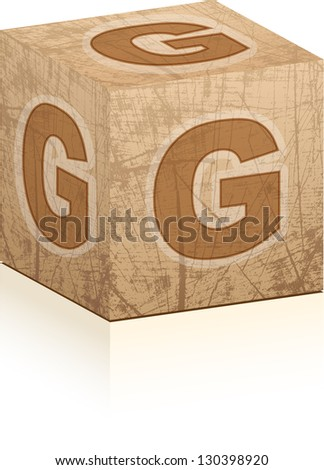 Cube with a letter g