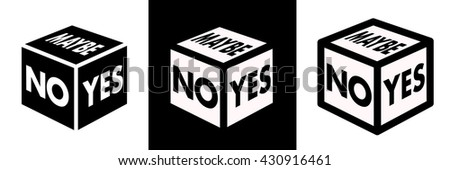 cube with signs yes  no  maybe