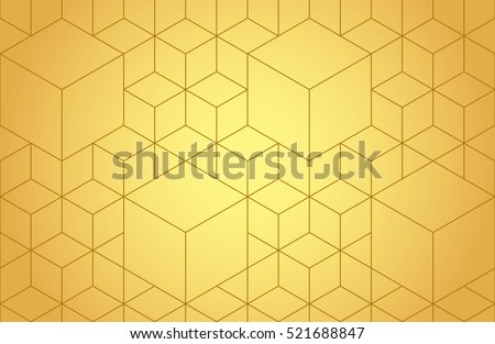 Cubes, hexagons and rhombs seamless pattern in golden tones. Geometric abstract repeating texture with intersecting hexagonal shapes. Gold colored background. Vector eps8 illustration.
