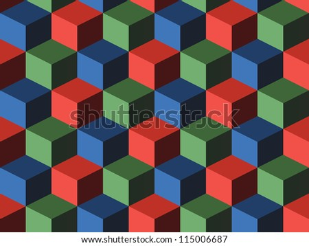 Cubes, infinite background, green, blue and red cubes