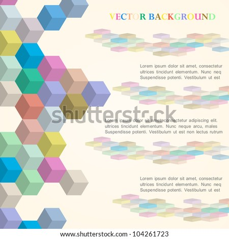 Cubes vector background in retro style