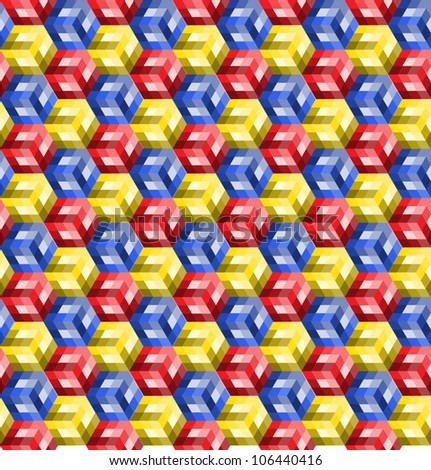 Cubes with different shades of color stacked to form a seamless pattern.