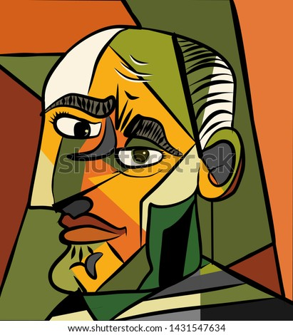 cubism art style,frowning man close-up