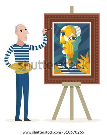 cubist painter creating a