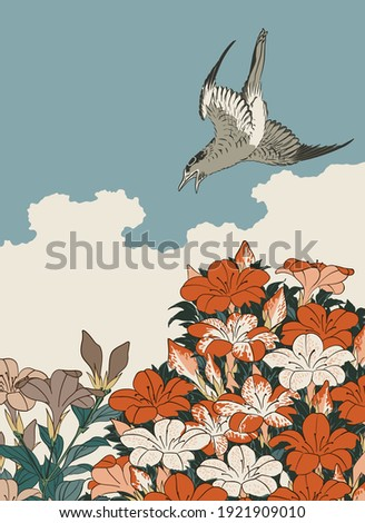 Cuckoo and Azaleas, drawing after 19th century Japanese woodblock print vector illustration Stock photo ©