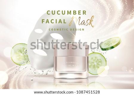 cucumber facial mask cream jar