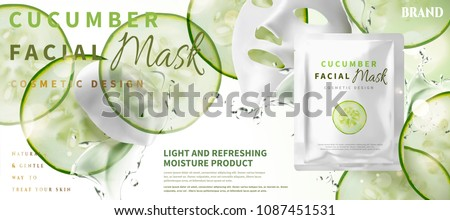 Cucumber facial mask with ingredients and foil pack in 3d illustration, sliced moisture vegetables