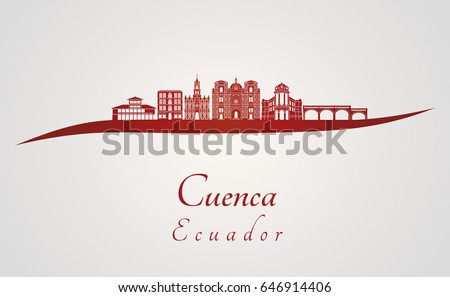 Shutterstock Cuenca EC skyline in red  and gray background in editable vector file