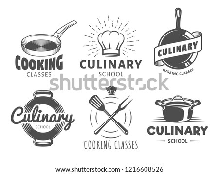 Culinary school logos. Vector badges for cooking classes, workshops and courses. Set of vintage monochrome labels with chefs hat, pans and kitchenware