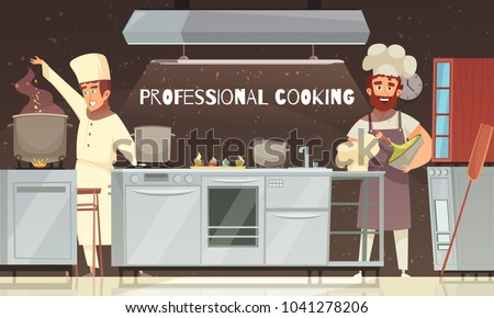 Culinary specialists during food preparation, professional cooking, restaurant kitchen interior with furniture and equipment vector illustration