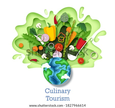 Culinary tourism concept vector illustration. Paper cut craft style planet Earth globe and healthy fresh vegetables. Cooking food ingredients. Gastronomic tour. Travel food experience. World cuisine.