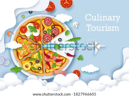 Culinary tourism vector poster, banner template. Paper cut plane flying out of big delicious italian pizza. Gastronomic tour. Travel food experience. Italian traditional food. World culinary tours. Stock photo ©