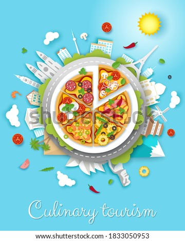 Culinary tourism vector poster, banner template. Paper cut style big delicious italian pizza and world famous landmarks around it. Gastronomic tour. Travel food experience. Italian traditional food. Stock photo ©