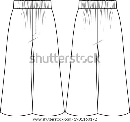 Culottes. Flowing pants. Technical vector sketch. Kids wear.  Stockfoto ©