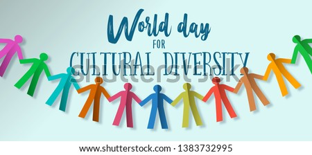Cultural Diversity banner illustration card of human people team paper garland  for social freedom and peace.