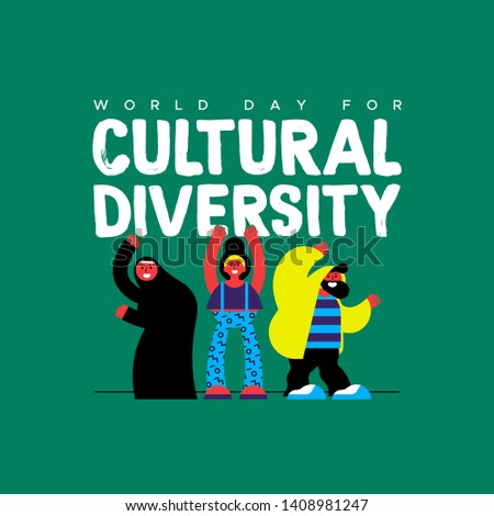 Cultural Diversity Day greeting card illustration. Happy friend group in colorful modern style with muslim woman for diverse community concept.