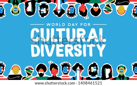 Cultural Diversity Day greeting card illustration. Social group with diverse international country flags. Includes people from asia, america, europe and africa.