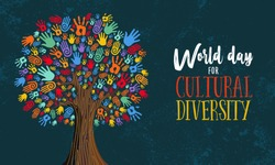 Cultural Diversity Day illustration for help and social love. Tree made of colorful human hands concept.